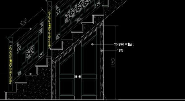 cad图库 家具设计图 其他 > 中式实木雕花楼梯带柜门
