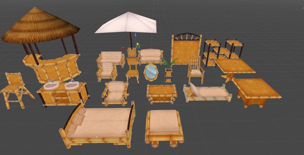 卡通夏日海滩木制品场景元素