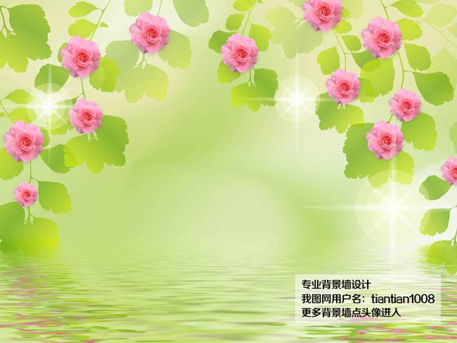 背景墙|装饰画 电视背景墙 现代简约电视背景墙 > 清新浪漫蔷薇花藤