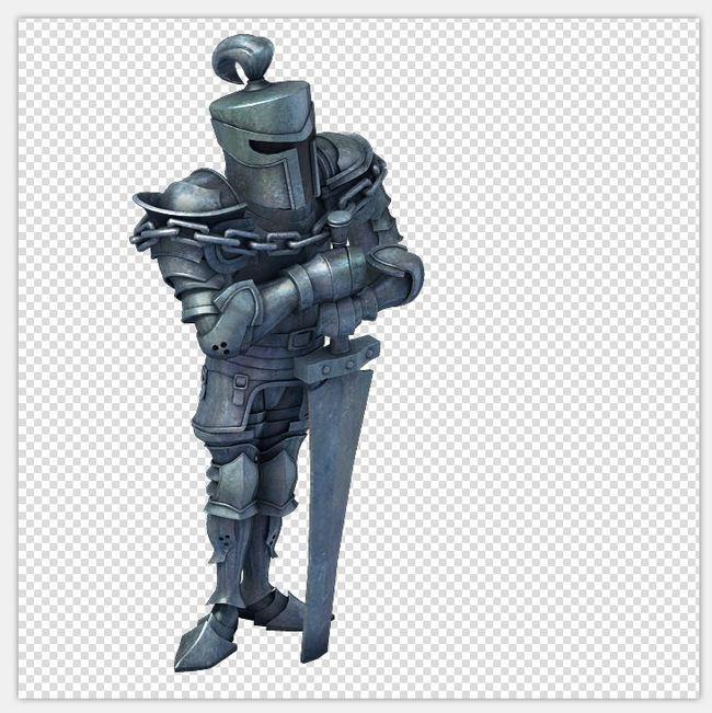 q版三维可爱卡通人物角色雕像盔甲骑士士兵