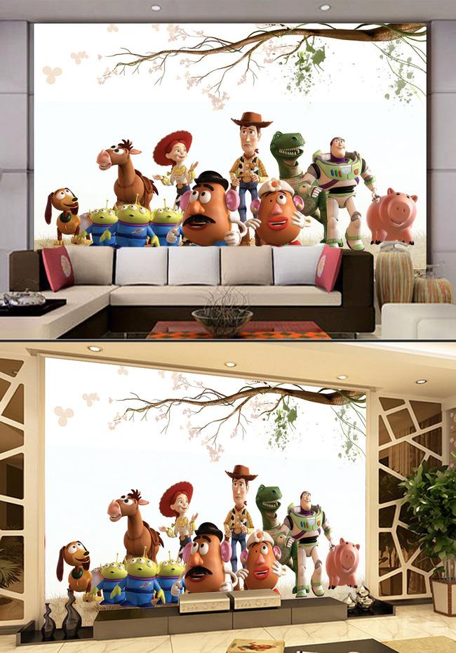 卡通动漫漫画全家福合照电视客厅背景墙