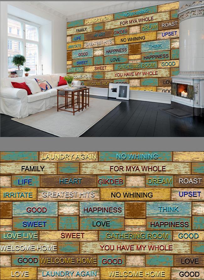 欧美风复古彩色木板英文电视背景墙
