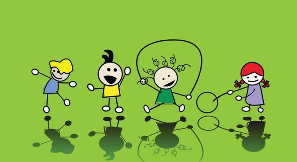 儿童画设计 幼儿园背景墙 相册儿童插画 跳绳的儿童 玩游戏的小朋友