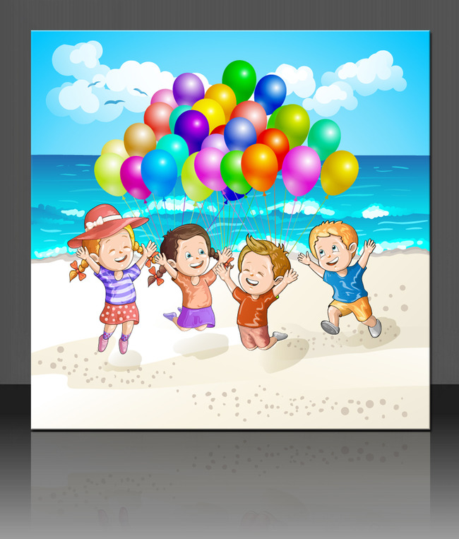 六一海报 幼儿园展板 幼儿园背景 幼儿园卡通 卡通儿童 沙滩 大海