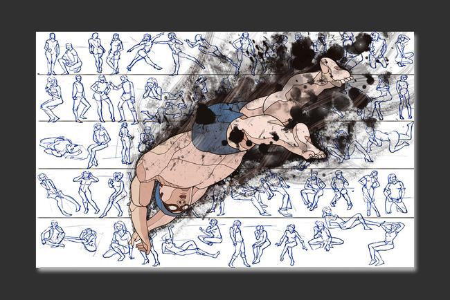 现代简约跳水手绘简笔画电视客厅背景墙