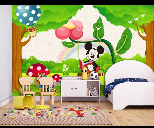 动物王国 儿童房背景墙壁画 小孩房床头背景 米老鼠 蘑菇房 唯美卡通图片