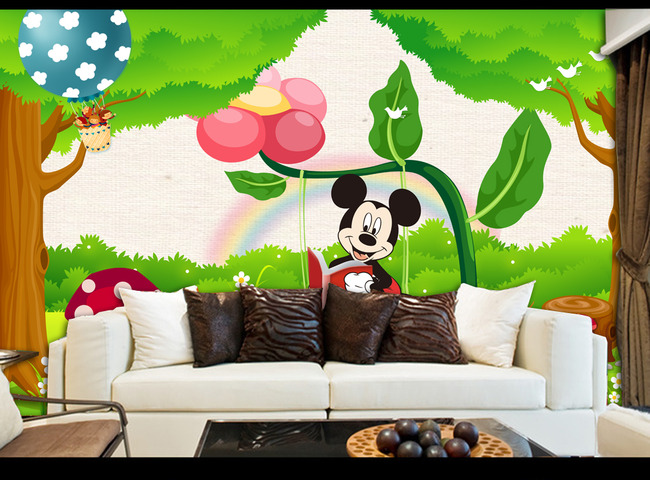 森林总动员儿童房卡通背景墙壁画图片下载森林总动员 动物王国 儿童房