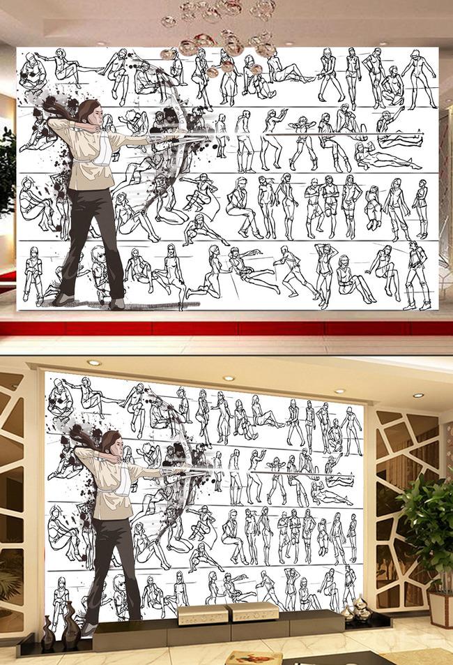 现代简约射箭弓箭手绘简笔画电视客厅背景墙