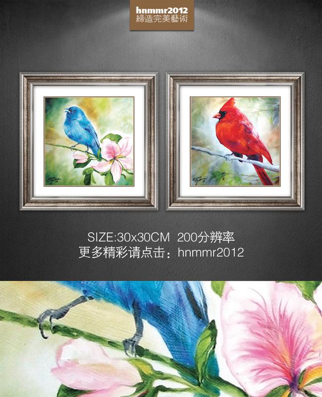 小清新手绘彩色小鸟桃花枝条油画装饰画