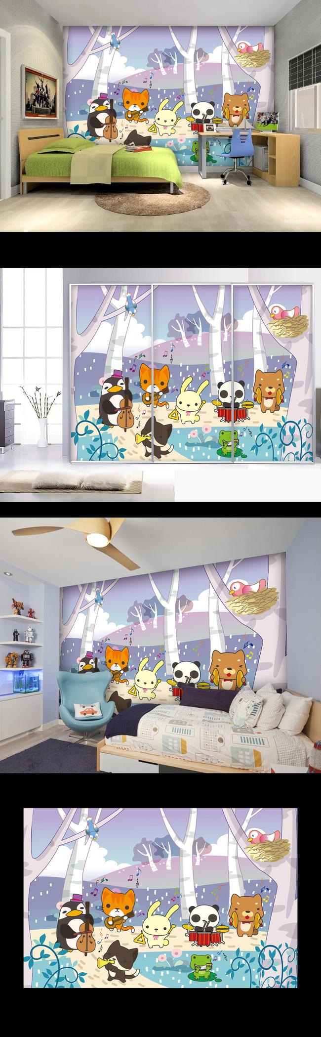 树干 大树 鸟巢 树枝 树林 儿童房 幼儿园 音乐 乐器 壁画 背景墙图片
