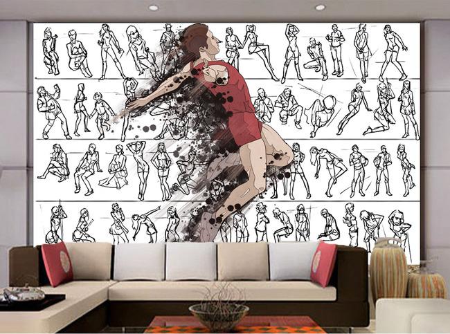 现代简约跳舞手绘简笔画电视客厅背景墙