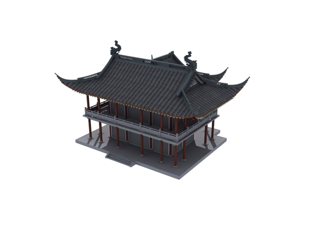 3d古建筑亭子模型设计下载