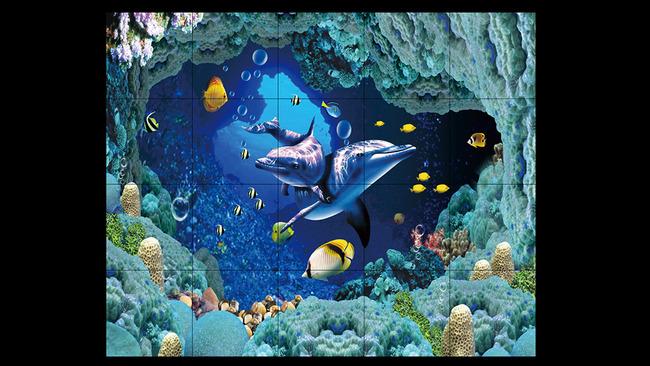 3d海底世界地面图案海豚热带鱼珊瑚