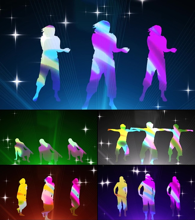 荧光女跳舞人物剪影酒吧夜场led背景视频