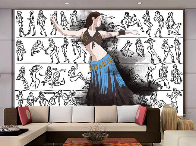 现代简约跳舞培训手绘简笔画电视客厅背景墙