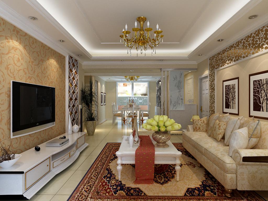 其他 效果图 家装效果图 > 简欧风格客厅影视墙  下一张&gt