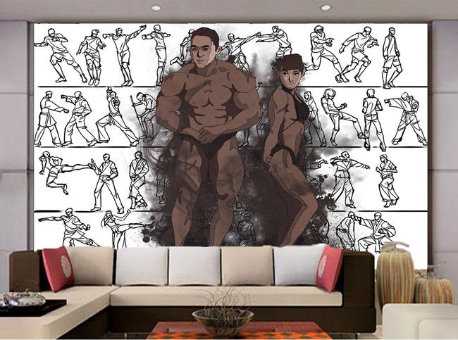 现代简约身材健美手绘简笔画电视客厅背景墙
