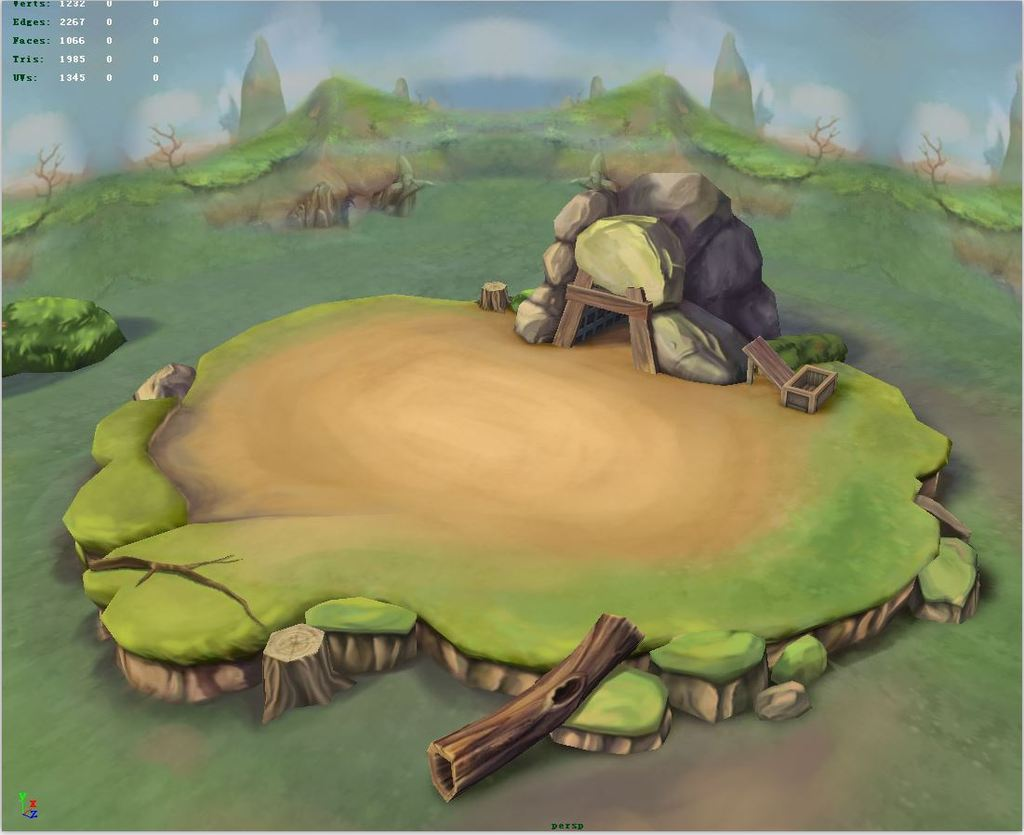 3d模型 3d游戏模型 场景3d模型 > q版三维可爱卡通山洞擂台草地草坪