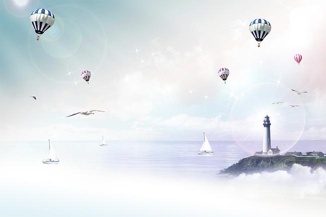 梦幻大海帆船热气球海鸥灯塔电视背景墙