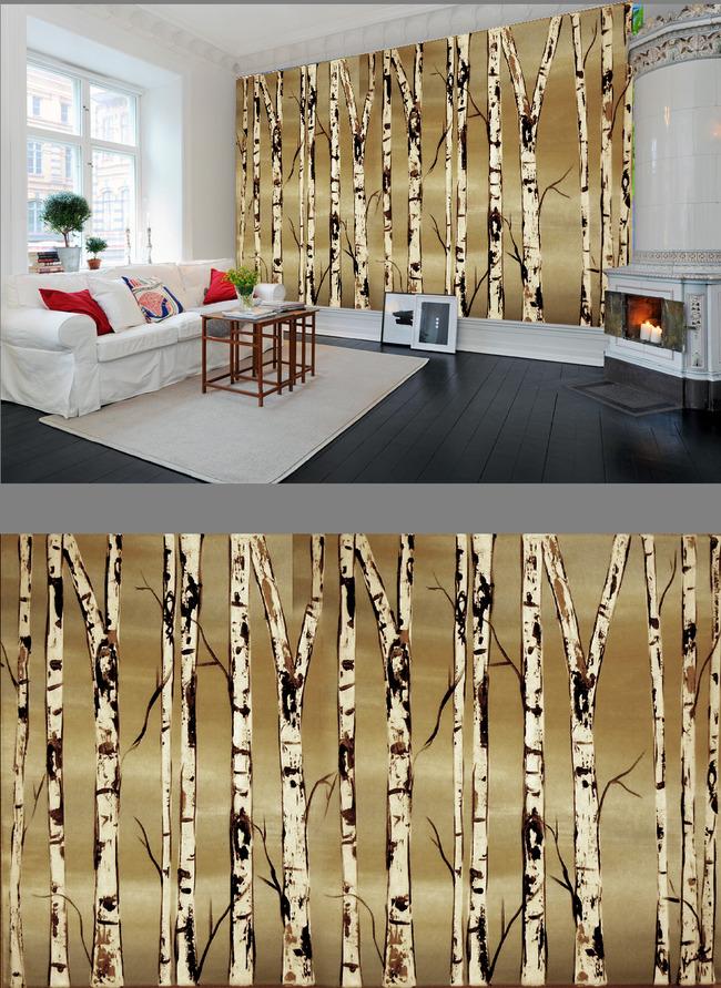 欧美风白桦林树干油画电视背景墙