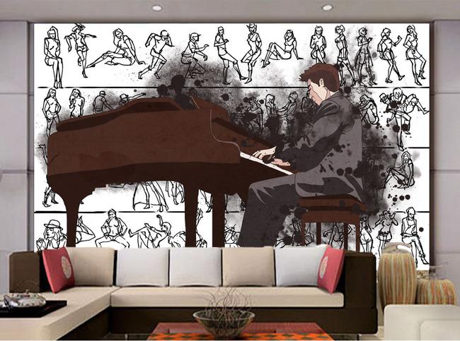 现代简约钢琴培训手绘简笔画电视客厅背景墙