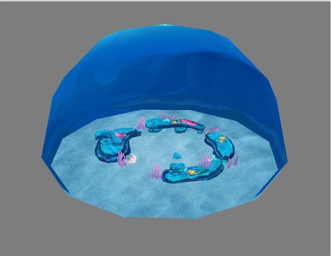 q版三维可爱卡通游戏场景水底礁石珊瑚海底