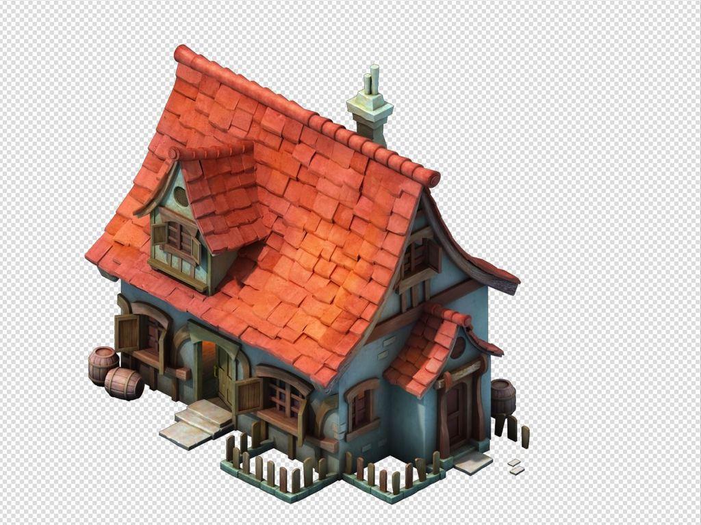 场景模型 > q版三维可爱卡通场景房屋别墅小镇建筑图片