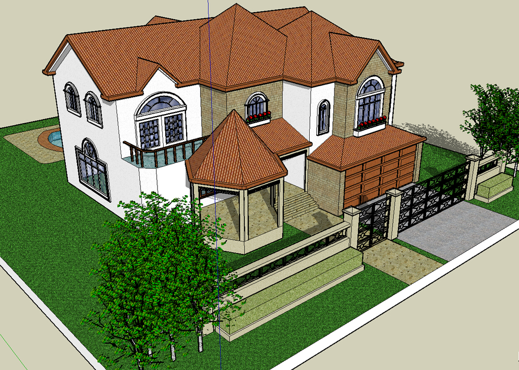 sketchup模型下载 二层欧式别墅模型下载