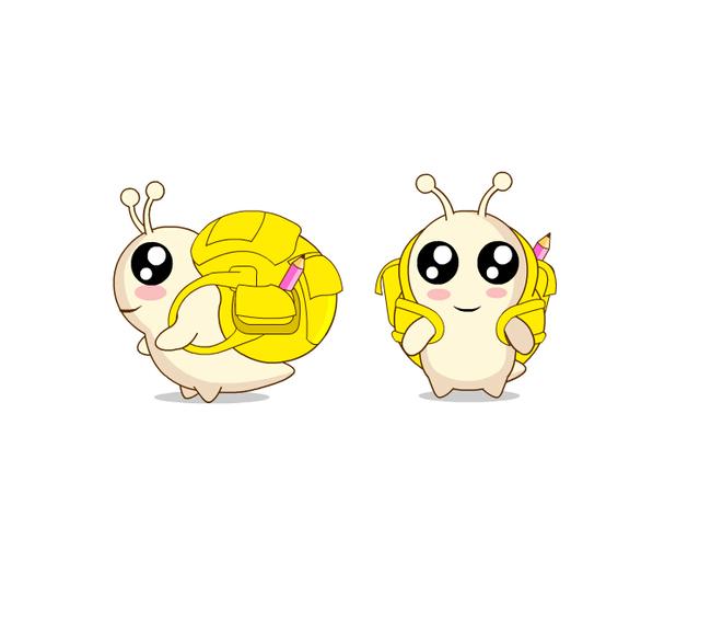 背书包的蜗牛卡通矢量图