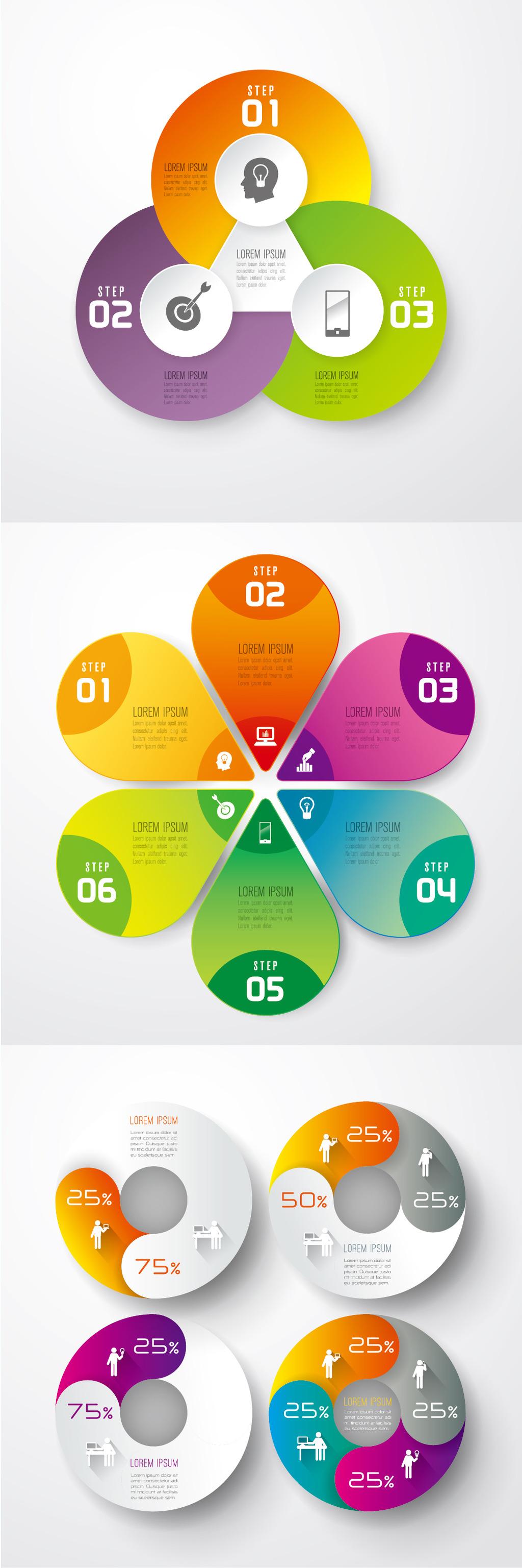 创意炫彩商务数字图表集合图片