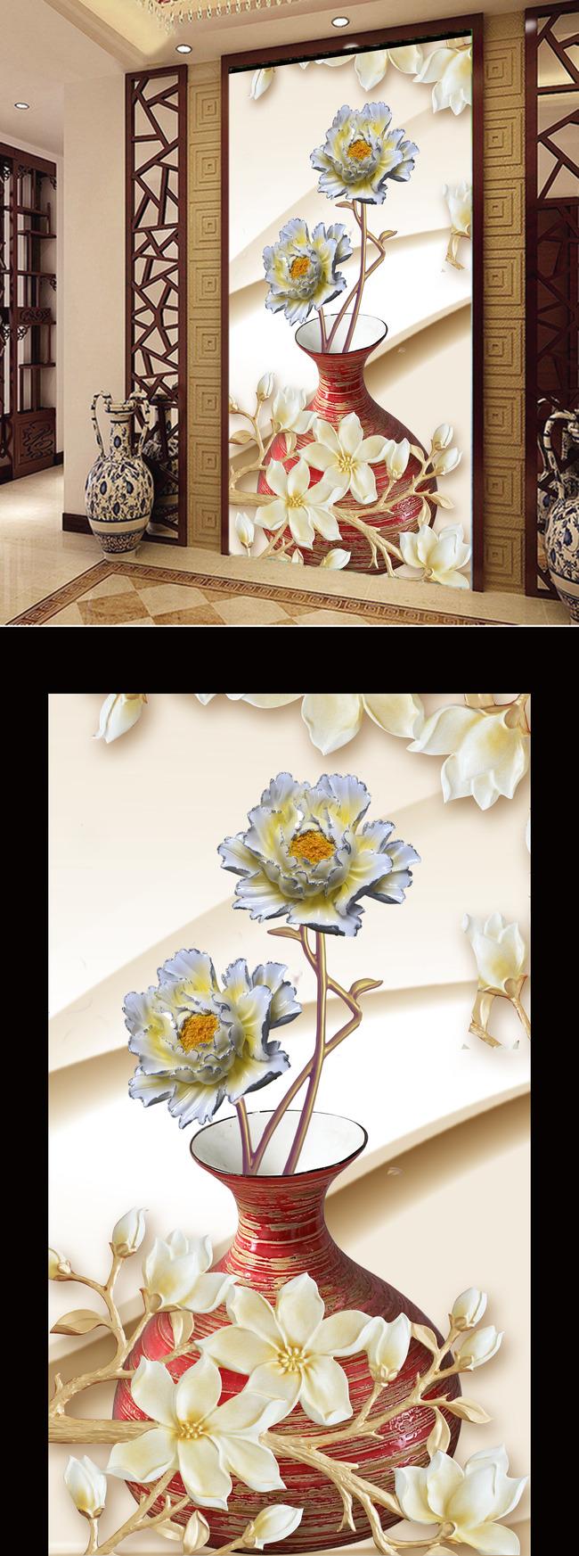 背景墙|装饰画 玄关 浮雕玄关 > 浮雕花朵玉兰花壁画花瓶走廊玄关