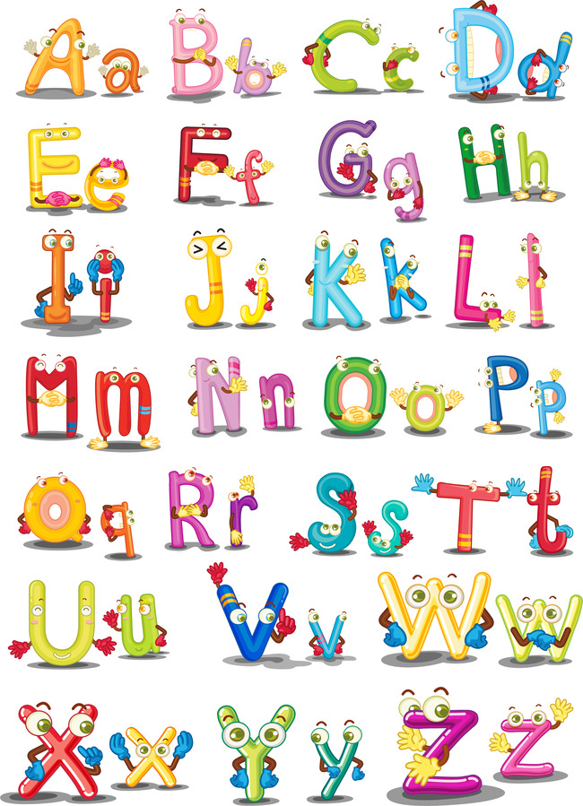 可爱彩色卡通字母矢量素材图片