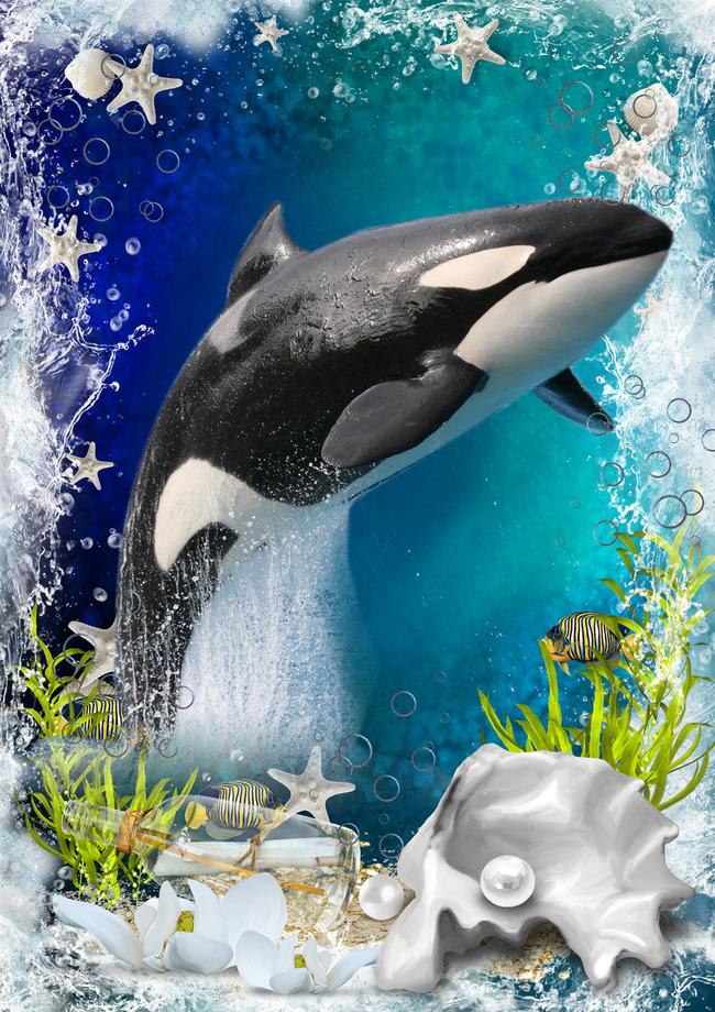 3d地砖地板海洋世界海豚