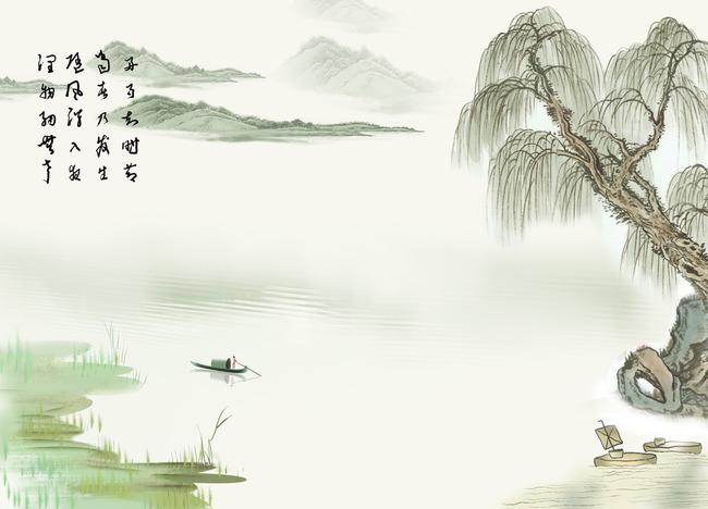 中式水墨山水电视背景墙烟雨江南