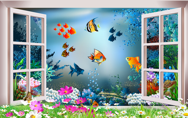 背景墙|装饰画 电视背景墙 客厅电视背景墙 > 3d海底世界海洋馆窗外