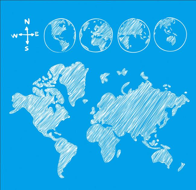 手绘世界地图矢量图