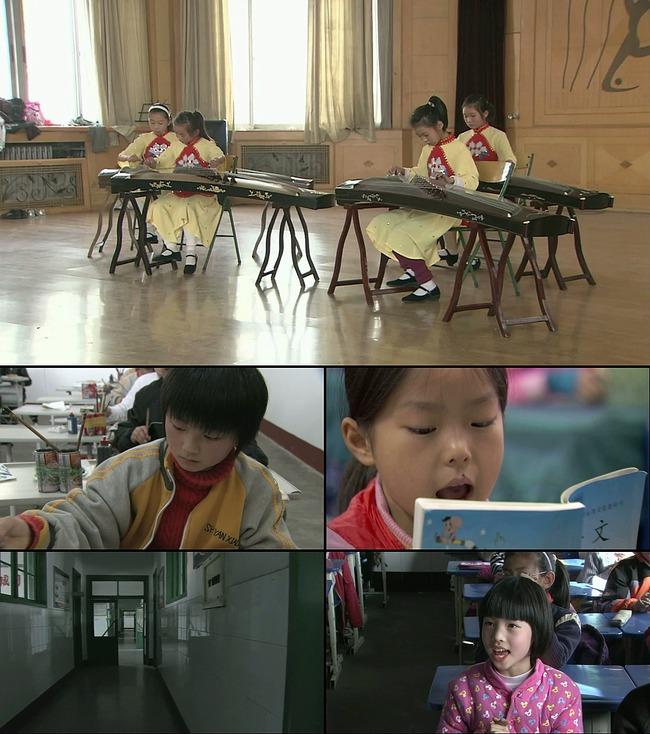 小学生上学上课弹古筝画画小学视频素材