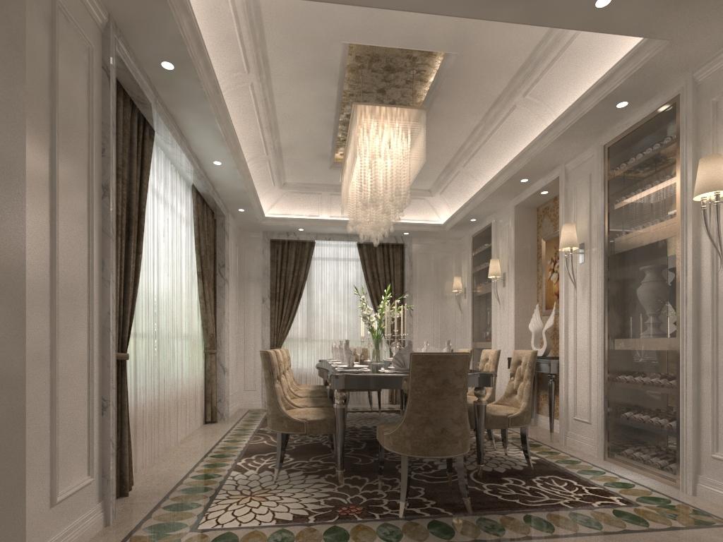 美式餐厅3d效果图下载图片下载地毯木地板装饰画吊灯
