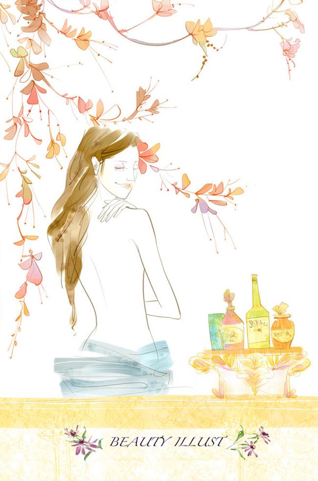 韩国水彩卡通美女手绘美女0