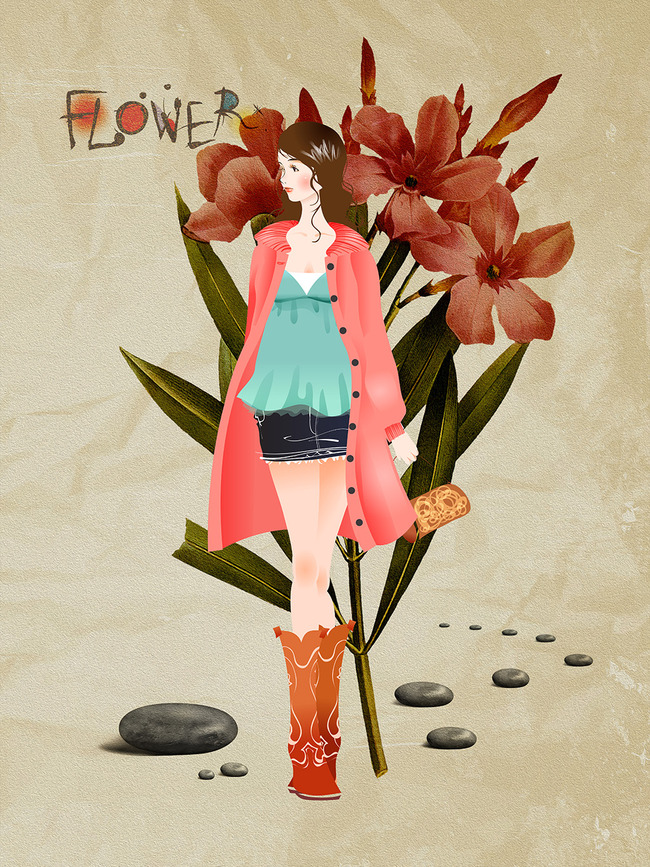 手绘卡通时尚美女鲜花无框画