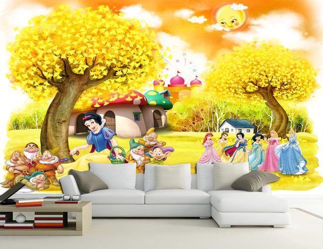 白雪公主蘑菇房儿童卡通背景墙壁画