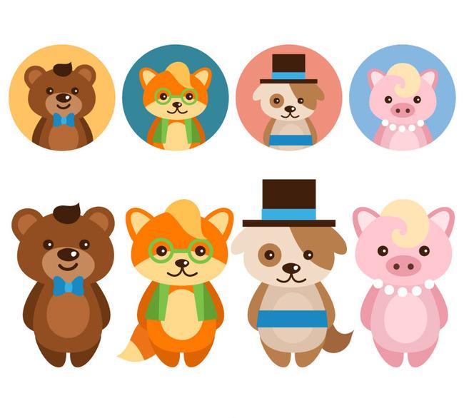 可爱卡通动物与头像