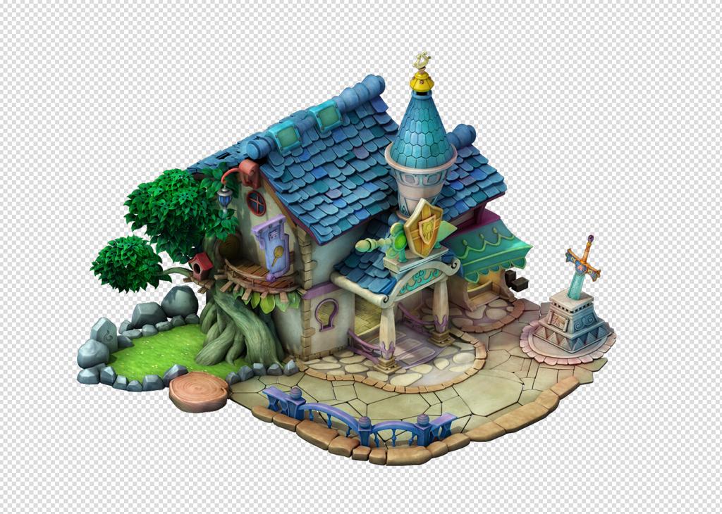 q版三维可爱卡通场景房子瓦房房屋建筑模型图片
