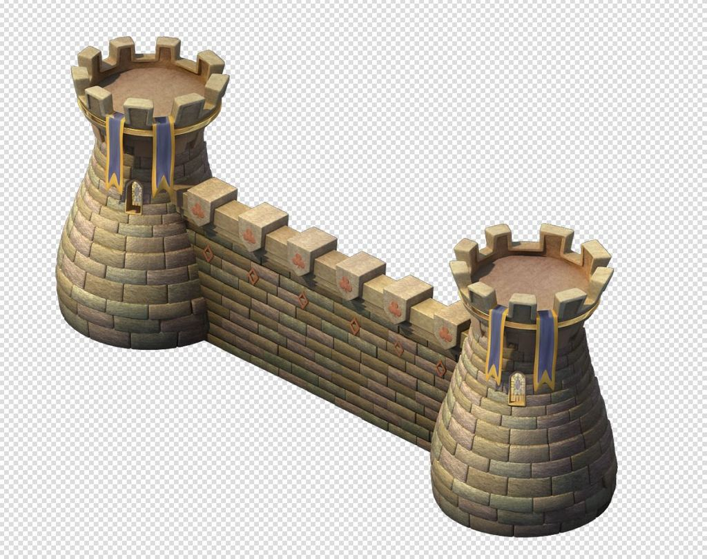 q版三维可爱卡通场景城堡围墙建筑模型图片