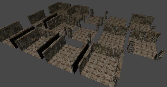 地下密室地牢地窖下水道围墙建筑无缝拼接2