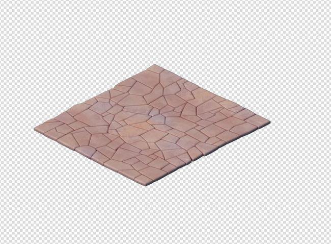 q版三维可爱卡通场景简单的石板路面道路