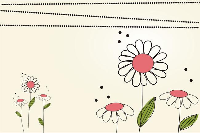 简洁花朵墙纸贴画