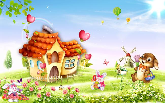 电视背景墙 客厅电视背景墙 > 田园风格儿童房卡通背景墙壁画  中国最