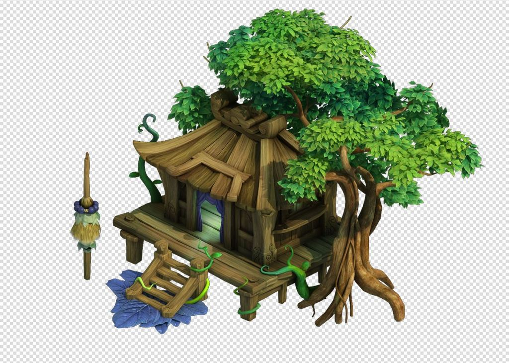 2.5d三维游戏卡通木房子房屋大树植物
