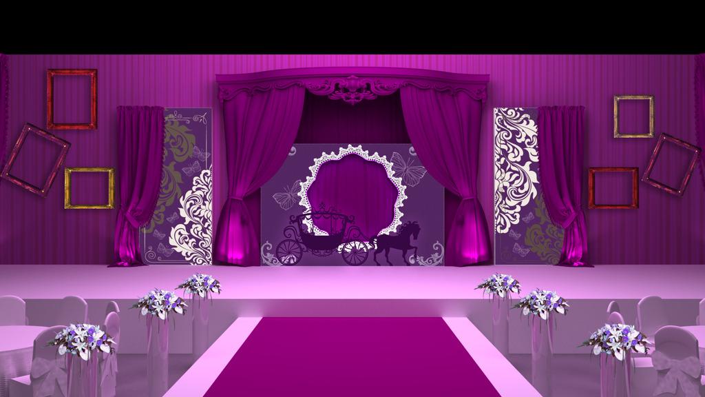 紫色主题婚礼设计效果图